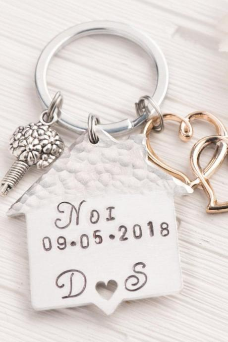 Hand stamped keychain, Home moving gift with coordinates engraved keychain