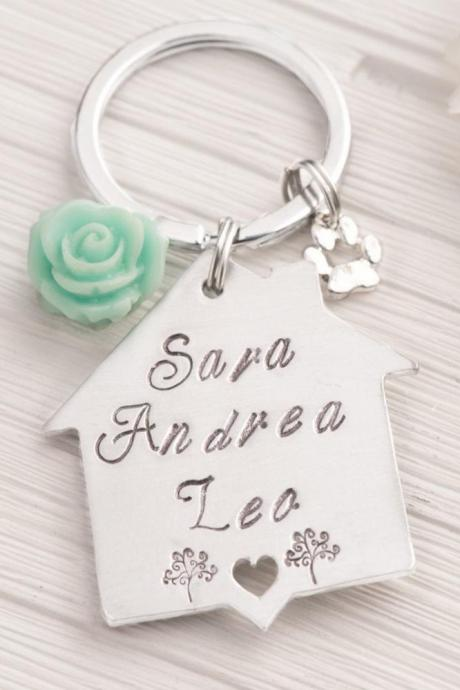 Hand stamped keychain, New home for grandma gift as 5th anniversary