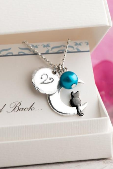 Personalized black cat sitting necklace with moon