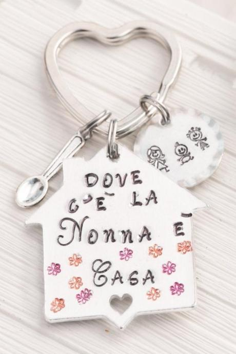 Custom grandmother keychain from grandchildren