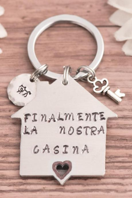 Hand stamped keychain, Personalized first home gift for birthday father keychain