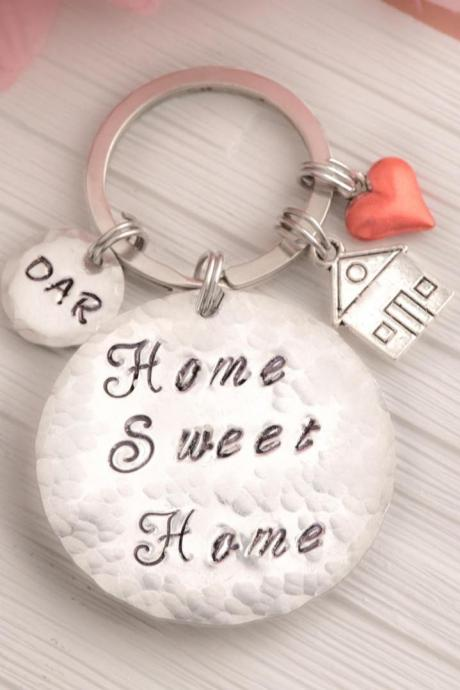 Moving home engraved keychain with coordinates