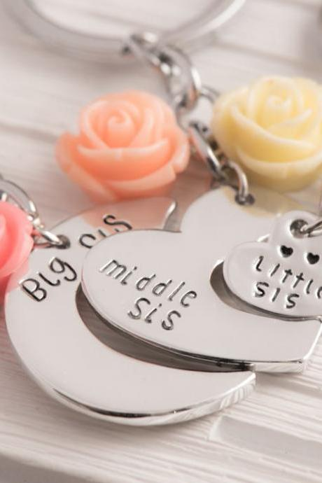 broken heart keychain, three sisters keychain, big sis mid sis lil, heart puzzle piece personalized, all the way, august birthstone.
