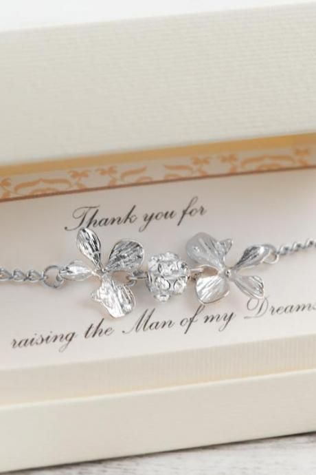 sister in law gift mother in law, silver flower orchid beach wedding, raising the woman, the man of my dreams, orchid necklace bracelet