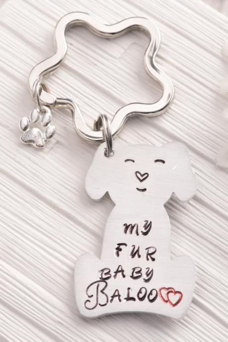 Hand stamped dog keychain, Custom pet dog remembrance keychain as mom dog gift