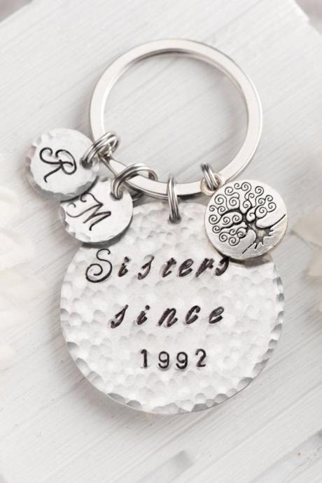Hand stamped best friend keychain, little sister, big sister keychain, relationship all the way, no matter where, set of 3 sister by heart gift