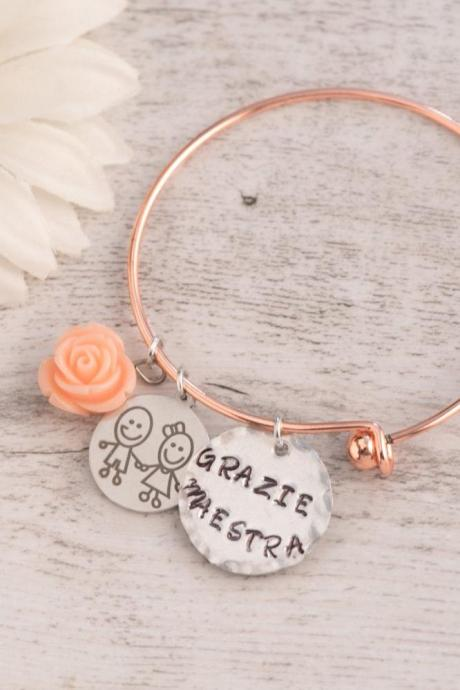 appreciation teacher bracelet bangle adjustable, made to order, thank you bracelet school gift personalized bangle, nana gift from classroom