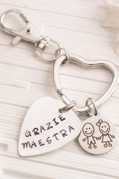 Hand stamped Music teacher keychain retirement - Back to school gift nanny to be keychain