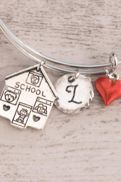 Hand stamped custom name kids bangle, engraved teacher bracelet bangle adjustable, back to school gift nanny, baby feet, new teacher gift from class of 2018