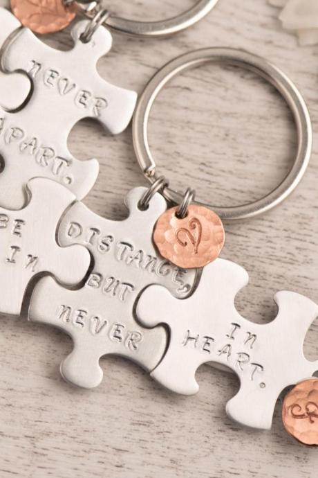 Hand stamped keychain, 3 sisters best friend long distance keychain as forever friends gift set , puzzle piece set-engraved rose gold puzzle as initial puzzle gift