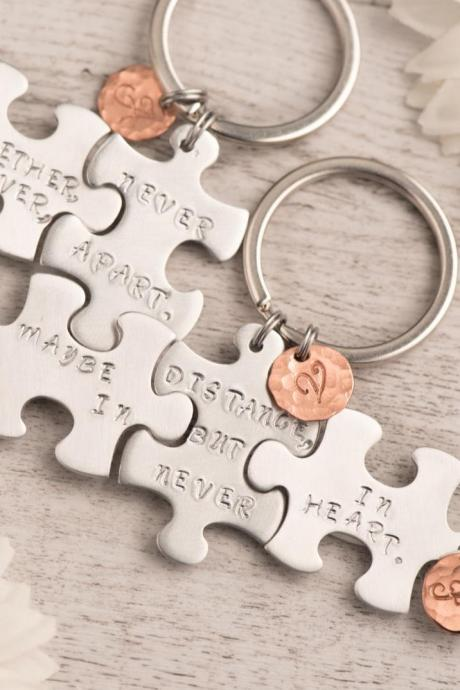 Hand stamped custom bridesmaid keychain, Puzzle Piece Set of 3 bff keychains for best friend long distance or best sisters forever - puzzle keychain for moving away - initial puzzle