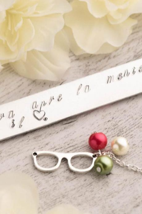 Hand stamped silver bookmark, retirement gift as teacher appreciation bookmark with Teacher opens mind note - quote teacher gift for class of 2016 retirement