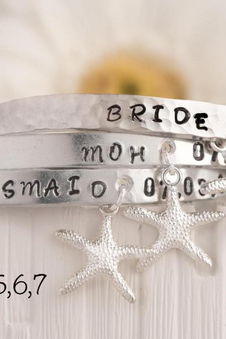 Hand stamped personalized set of 7 bracelets for 5/7 starfish bridesmaids gift set, bridal party jewelry, wedding date bar aluminium bangles, wedding bracelets set
