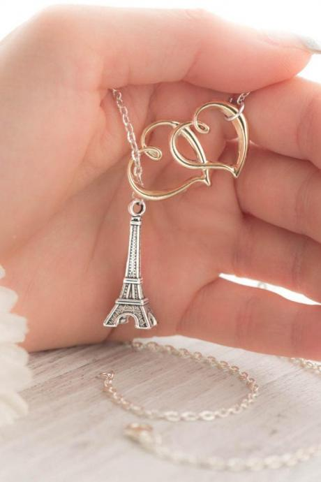 silver lariat necklace as valentine paris in love jewelry as gift for mom from daughter as girlfriend valentine gift - heart paris necklace