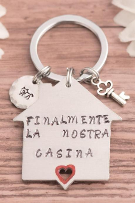 Hand stamped keychain, new home gift for couple keychain for fathers day gift engraved