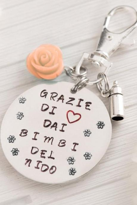 Custom hand stamped keychain teacher present, teacher appreciation gift retirement, day care gift end of year, thanks for helping me grow, kindergarten