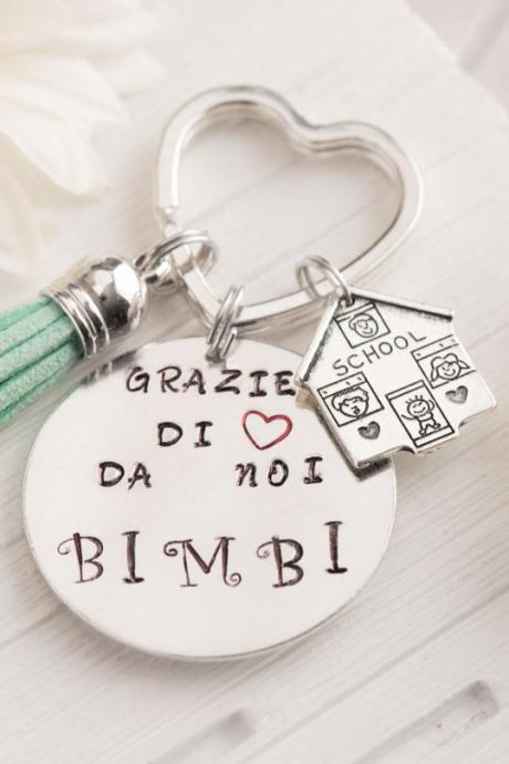 Hand stamped keychain, best teacher gift ideas, apple, made to order, personal keychain teacher quotes, thanks for helping me grow, gift for nanny present