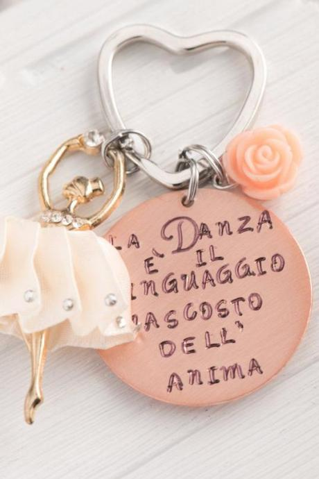 Hand stamped ballet dancer keychain, music teacher gift last day of school gift for dancer teacher gift ballet dancer, Preschool teacher quotes keychain personalize made