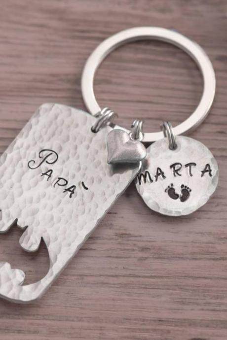 Hand stamped keychain, engraved batman keychain, gift for new father daughter, gift batman birthday, new daddy gift from baby sidekick superhero keychain.