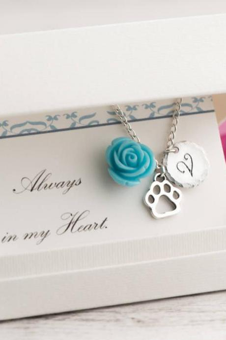 Silver paw dog necklace as remembrance gift