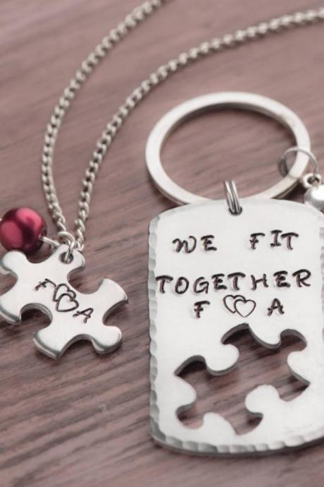 Hand stamped keychain, Personalized Puzzle Piece Set for him and her. keychain