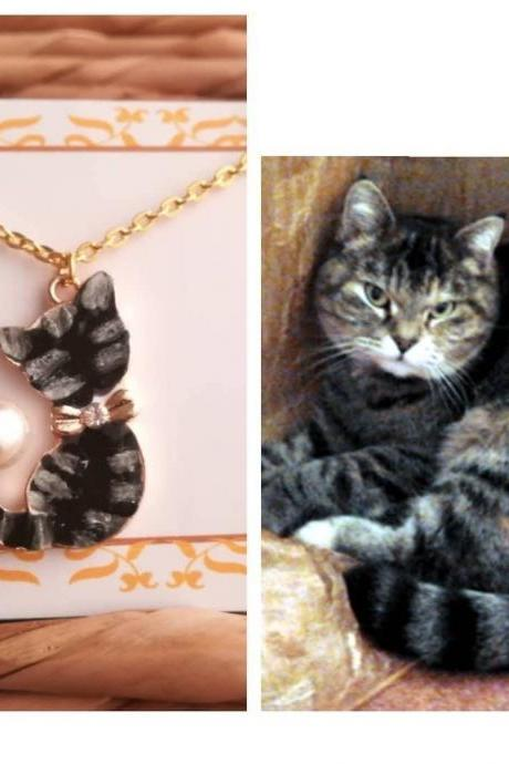 Black cat and pearl necklace, Christmas cat lover gift portrait custom necklace