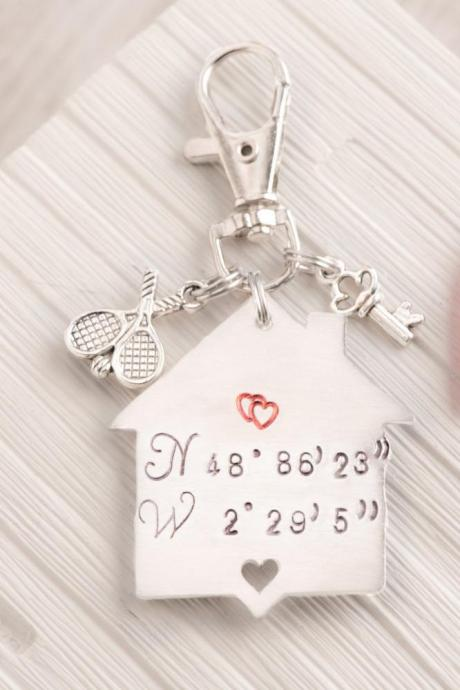 Coordinates keychain for xmas gift for husband