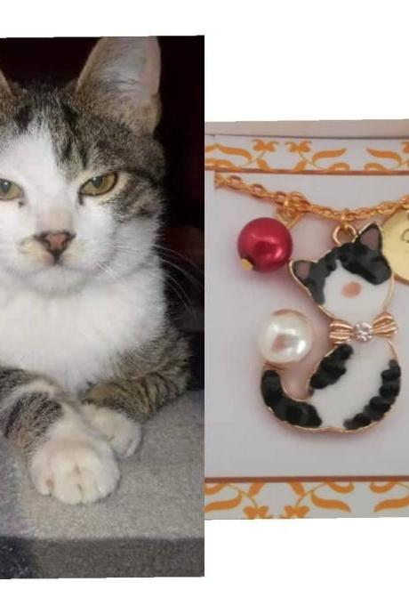 Custom cat loss gift as personalized necklace