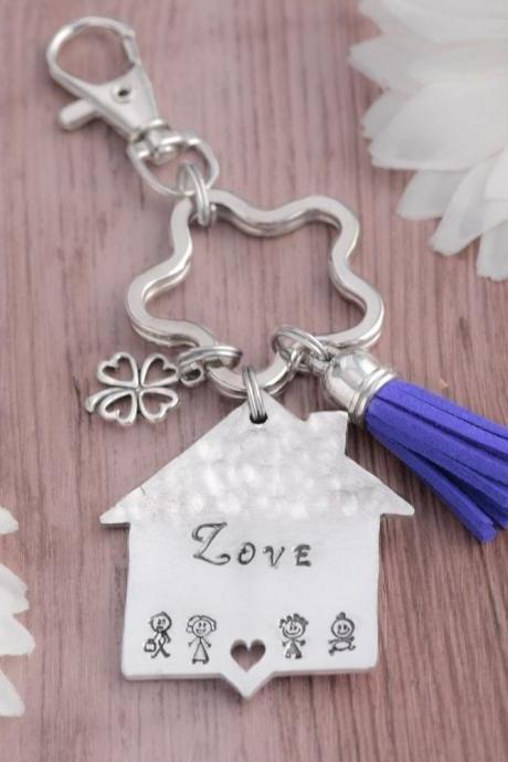 Hand stamped home keychain, custom home keychain as anniversary gift for wife