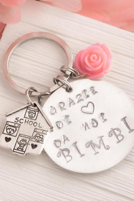 Hand stamped personalized engraved keychain, big heart to teach keychain, day care gift, teacher assistant gift from classroom