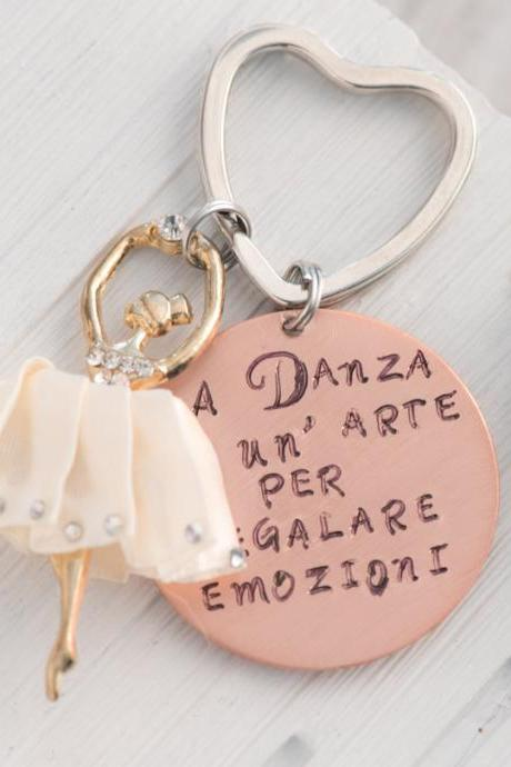 Hand stamped ballet dancer keychain, Preschool teacher quotes keychain customize made to order, music teacher gift back to school gift for dancer teacher gift ballet dancer,
