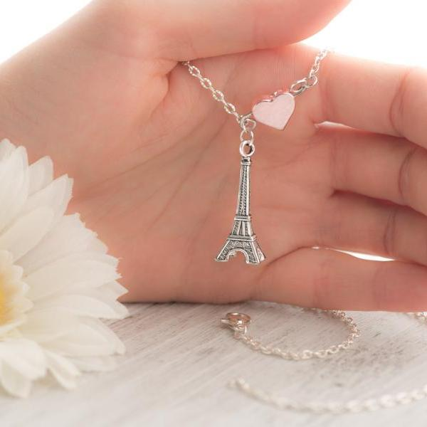 silver paris necklace as initial teacher necklace as love paris necklace with heart eiffel - eiffel tower jewelry as layered eiffel necklace