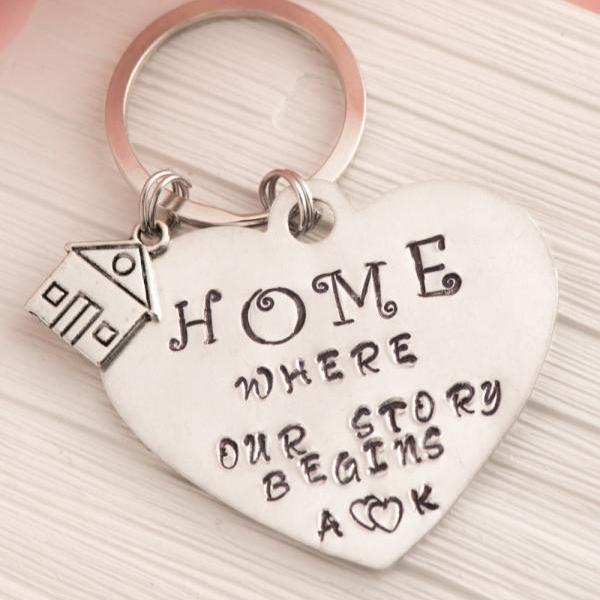 Our first home gift with our story begins engraved keychain